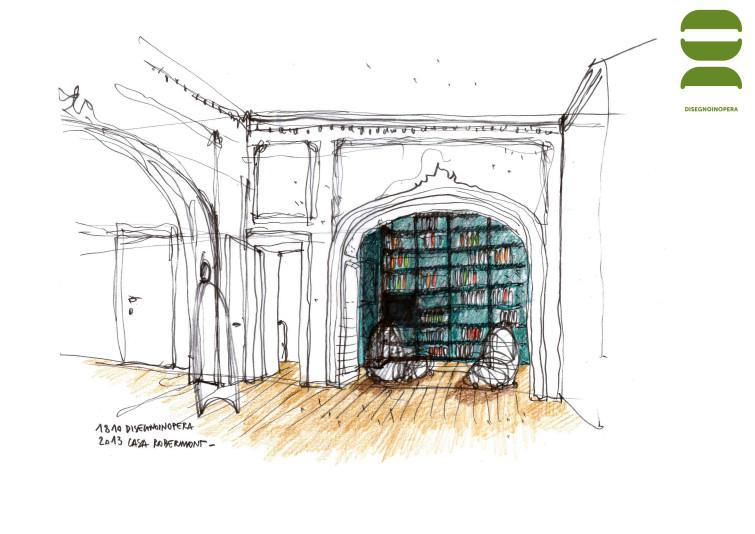 disegnoinopera - casa Robermont - angolo biblioteca
